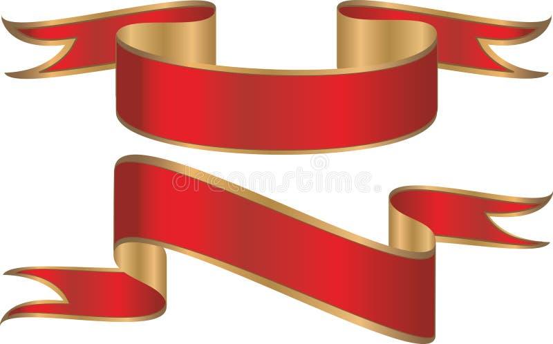 χρυσές κόκκινες κορδέλλες εμβλημάτων απεικόνιση αποθεμάτων