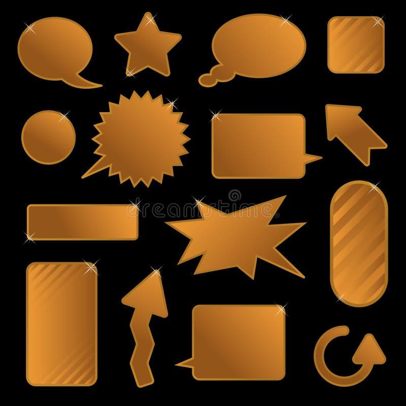 χρυσές λεκτικές ετικέττες φυσαλίδων ελεύθερη απεικόνιση δικαιώματος