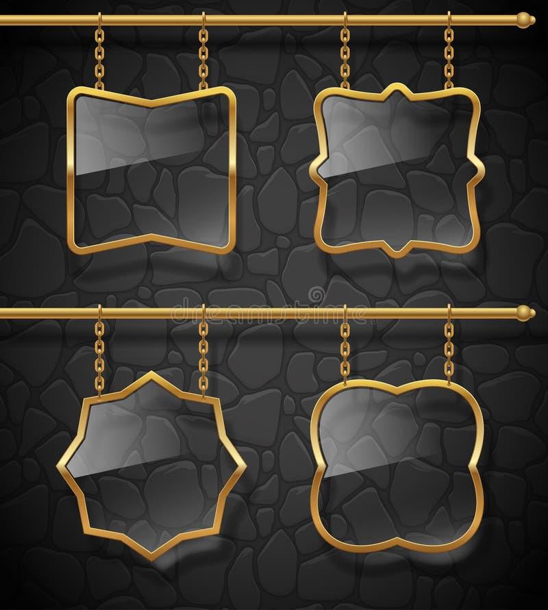 χρυσές πινακίδες γυαλι&om απεικόνιση αποθεμάτων