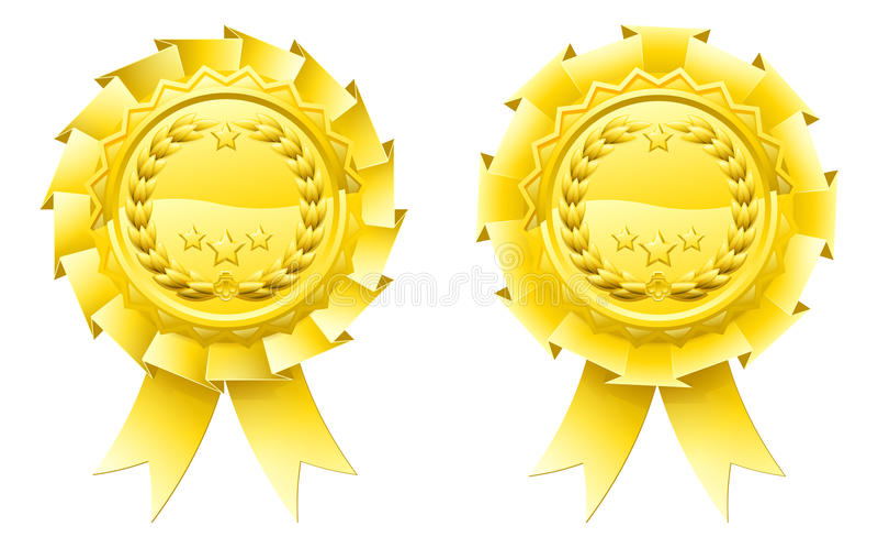 Χρυσές ροζέτες δαφνών νικητών διανυσματική απεικόνιση