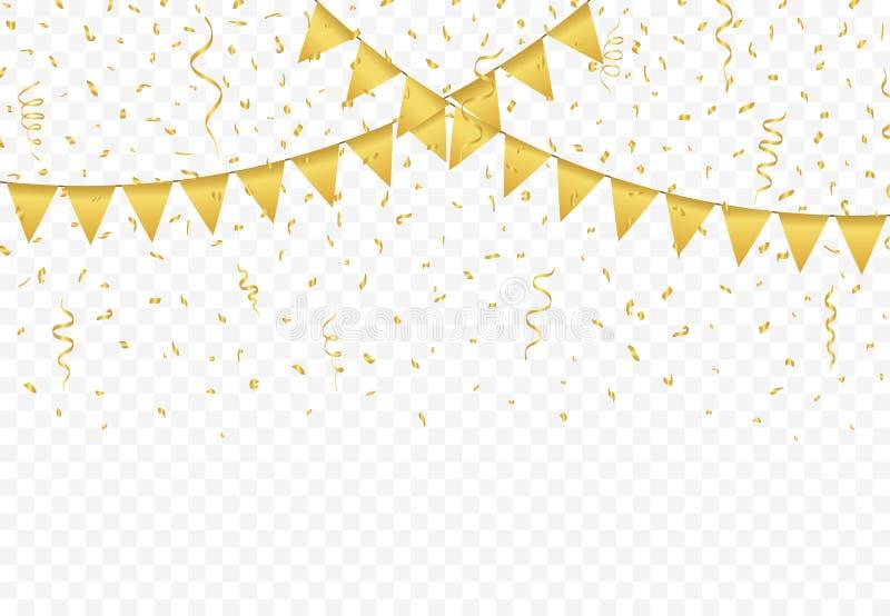 Χρυσές σημαίες με το διάνυσμα υποβάθρου κομφετί ελεύθερη απεικόνιση δικαιώματος