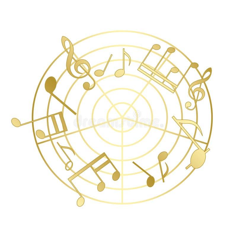 Χρυσές σημειώσεις μουσικής με την κλίση ελεύθερη απεικόνιση δικαιώματος