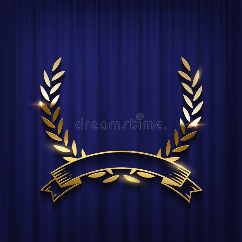 Χρυσές στεφάνι και κορδέλλα δαφνών που απομονώνονται στο μπλε υπόβαθρο κουρτινών Διανυσματικό πρότυπο αφισών τελετής βραβεύσεωης διανυσματική απεικόνιση