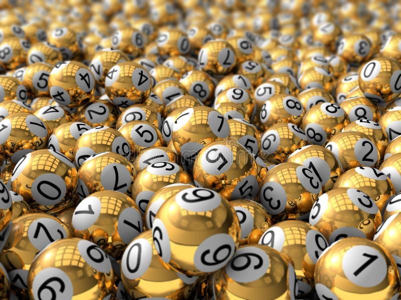 Χρυσές σφαίρες λαχειοφόρων αγορών απεικόνιση αποθεμάτων