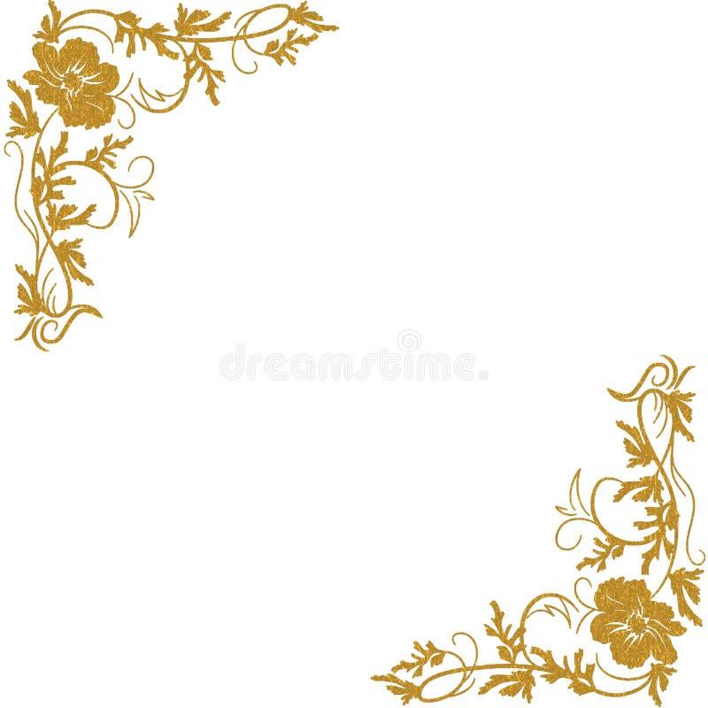 Χρυσές floral γωνίες διανυσματική απεικόνιση