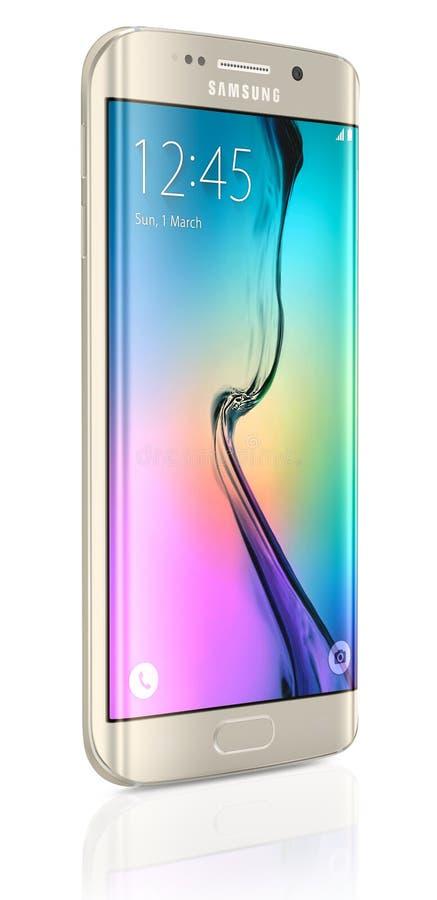 Χρυσή άκρη γαλαξιών της Samsung λευκόχρυσου S6 διανυσματική απεικόνιση