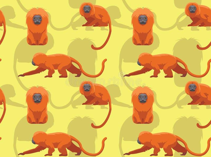 Χρυσή άνευ ραφής ταπετσαρία κινούμενων σχεδίων Tamarin λιονταριών απεικόνιση αποθεμάτων