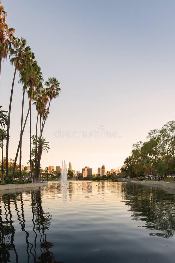 Χρυσή άποψη ώρας ηλιοβασιλέματος του Λος Άντζελες κεντρικός στοκ φωτογραφία με δικαίωμα ελεύθερης χρήσης