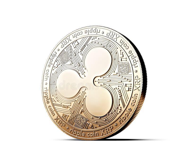 Χρυσή έννοια νομισμάτων κυματισμών XRP που απομονώνεται στο άσπρο υπόβαθρο ελεύθερη απεικόνιση δικαιώματος