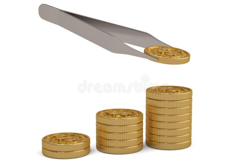 Χρυσή έννοια χρημάτων νομισμάτων και τσιμπιδακιών που απομονώνεται στο άσπρο υπόβαθρο r απεικόνιση αποθεμάτων