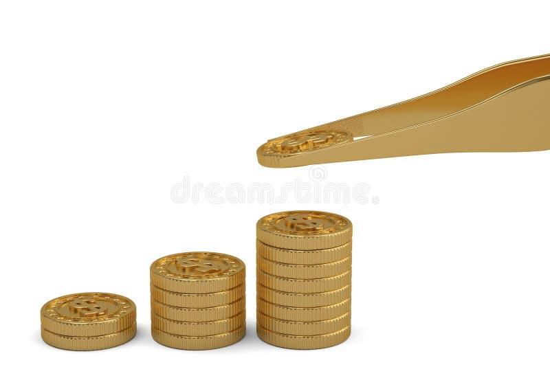 Χρυσή έννοια χρημάτων νομισμάτων και τσιμπιδακιών που απομονώνεται στο άσπρο υπόβαθρο r διανυσματική απεικόνιση