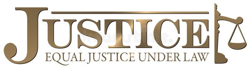 Χρυσή ίση δικαιοσύνη λογότυπων δικαιοσύνης κάτω από το ανώτατο δικαστήριο νόμου διανυσματική απεικόνιση