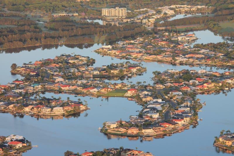 Χρυσή Ακτή Αυστραλίας από αερόστατο θερμού αέρα - κατοικία καναλιού στοκ φωτογραφία με δικαίωμα ελεύθερης χρήσης
