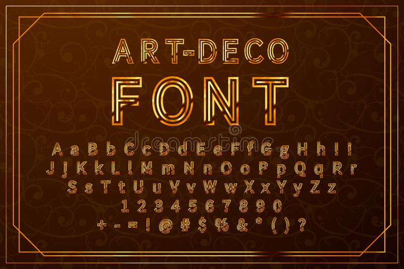 Χρυσή αναδρομική πηγή τέχνη-deco, πλήρες σύνολο εκλεκτής ποιότητας λατινικών συμβόλων με τους αριθμούς και τα σημάδια απεικόνιση αποθεμάτων