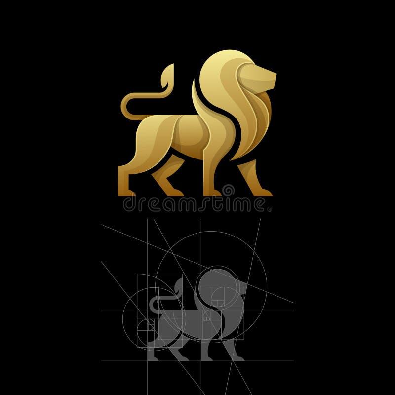 Χρυσή αναλογία ένα διανυσματικό πρότυπο απεικόνισης λιονταριών στοκ εικόνες