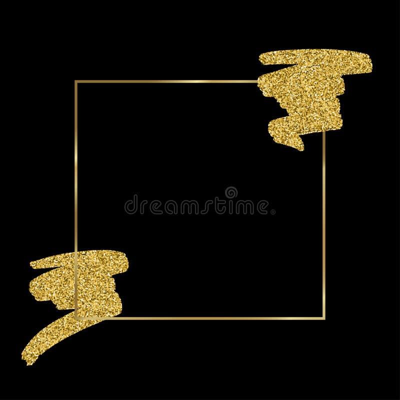 Χρυσή απεικόνιση πλαισίων λεκέδων χρωμάτων σύστασης Συρμένο χέρι βουρτσών στοιχείο σχεδίου κτυπήματος διανυσματικό ελεύθερη απεικόνιση δικαιώματος