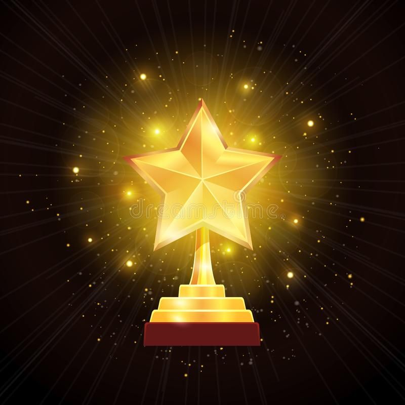 Χρυσή απεικόνιση υποβάθρου αστεριών βραβείων διανυσματική απεικόνιση