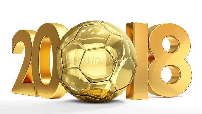 Χρυσή απομονωμένη τρισδιάστατη απόδοση σφαιρών ποδοσφαίρου ποδοσφαίρου 2018 διανυσματική απεικόνιση