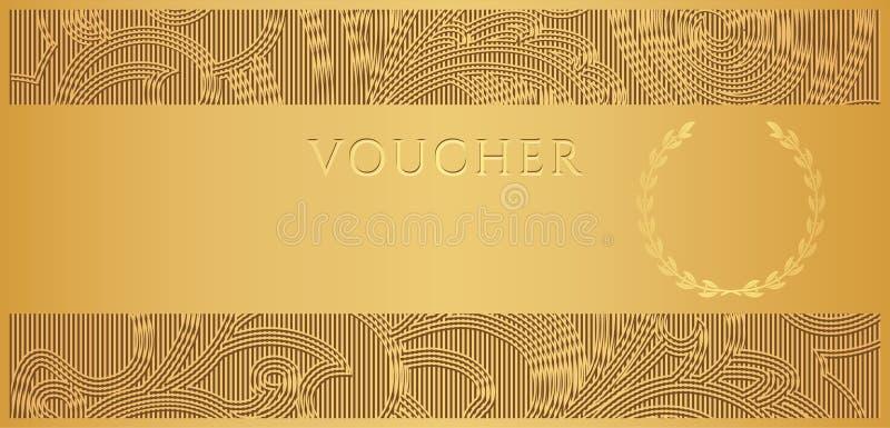 Χρυσή απόδειξη (πιστοποιητικό δώρων, εισιτήριο δελτίων) διανυσματική απεικόνιση