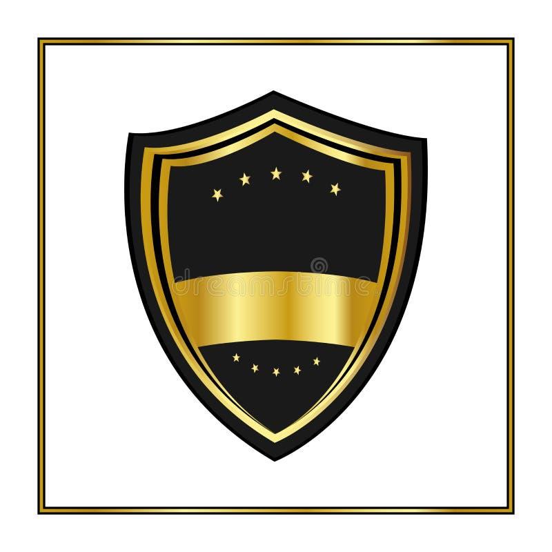 Χρυσή ασπίδα με τα αστέρια στο καθιερώνον τη μόδα επίπεδο ύφος που απομονώνεται στο άσπρο υπόβαθρο Ανακοινώστε το λογότυπο και το διανυσματική απεικόνιση
