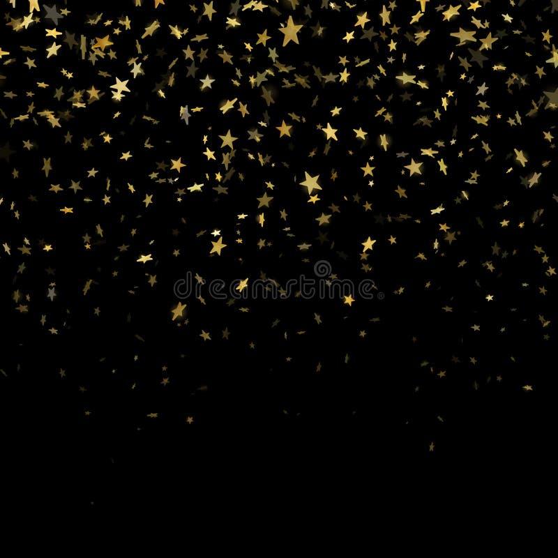 Χρυσή αστεριών κομφετί επίδραση σχεδίων βροχής εορταστική Χρυσά αστέρια όγκου που πέφτουν κάτω από απομονωμένος στο μαύρο υπόβαθρ διανυσματική απεικόνιση