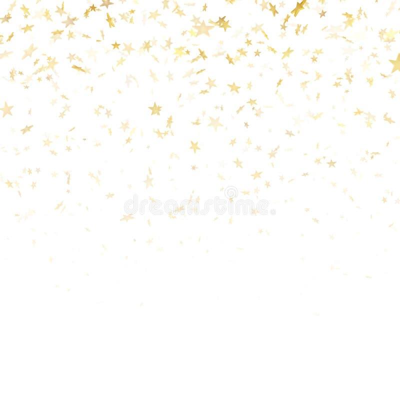 Χρυσή αστεριών κομφετί επίδραση σχεδίων βροχής εορταστική Χρυσά αστέρια όγκου που πέφτουν κάτω από απομονωμένος στο άσπρο υπόβαθρ ελεύθερη απεικόνιση δικαιώματος