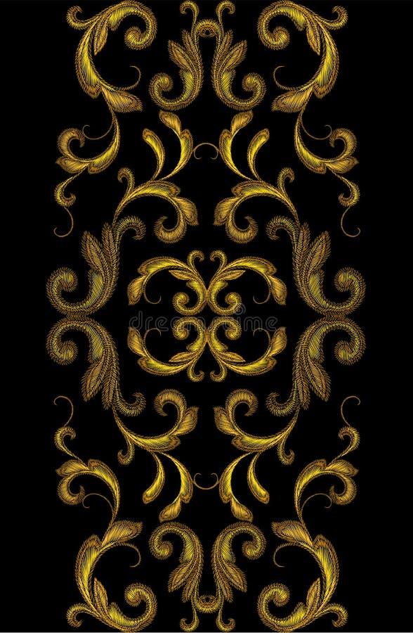 Χρυσή βικτοριανή διακόσμηση συνόρων κεντητικής Floral άνευ ραφής διανυσματική απεικόνιση