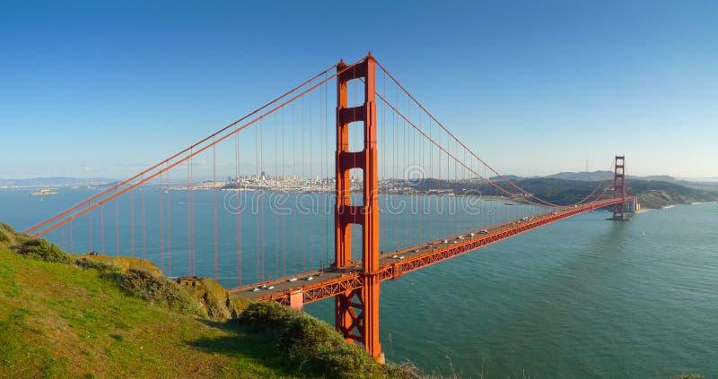 Χρυσή γέφυρα πυλών του Σαν Φρανσίσκο πανοραμική στοκ φωτογραφία