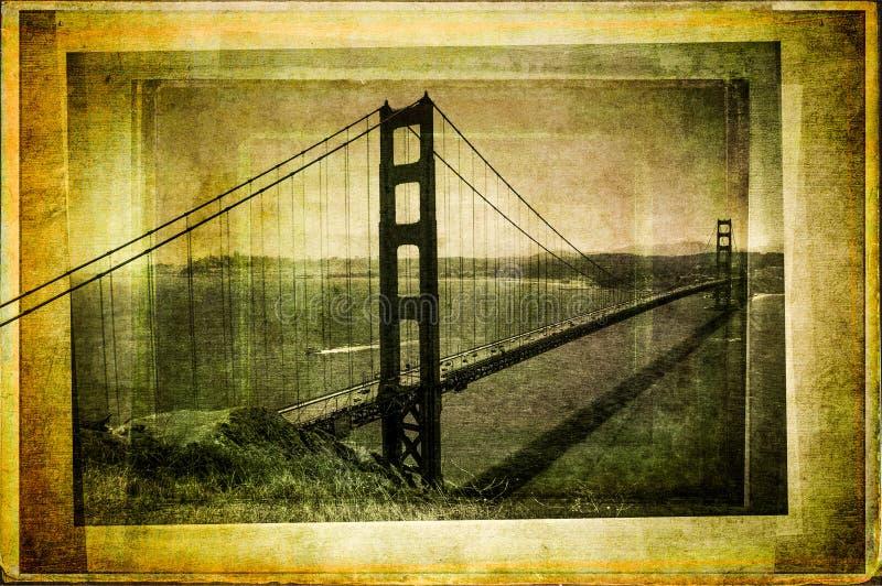 Χρυσή γέφυρα πυλών στον τρύγο που φιλτράρονται και το κατασκευασμένο ύφος στοκ φωτογραφία με δικαίωμα ελεύθερης χρήσης