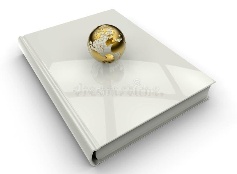 Χρυσή γήινη σφαίρα σε ένα βιβλίο διανυσματική απεικόνιση