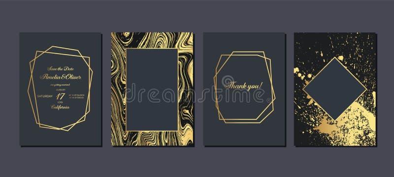 Χρυσή γαμήλια πρόσκληση Κάρτες γαμήλιας πρόσκλησης πολυτέλειας με τη χρυσή μαρμάρινη σύσταση και το γεωμετρικό διανυσματικό σχέδι διανυσματική απεικόνιση