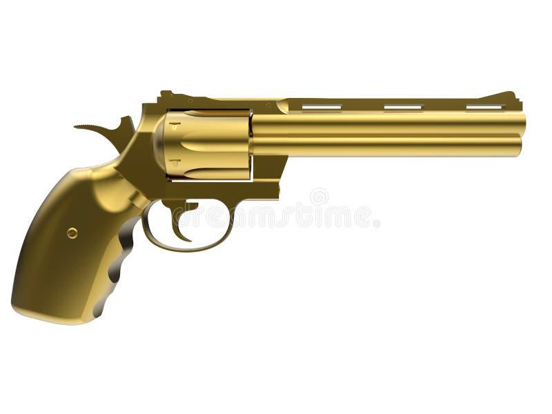 Χρυσή δευτερεύουσα απεικόνιση πυροβόλων όπλων ελεύθερη απεικόνιση δικαιώματος