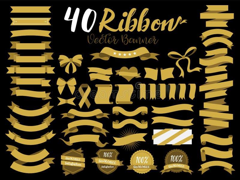 40 χρυσή διανυσματική απεικόνιση κορδελλών με το επίπεδο σχέδιο Περιέλαβε το γραφικό στοιχείο ως αναδρομικό διακριτικό, ετικέτα ε διανυσματική απεικόνιση