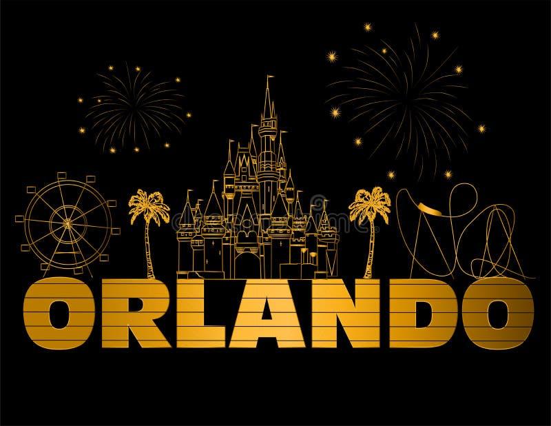 Χρυσή εγγραφή του Ορλάντο στο μαύρο backround Διάνυσμα με τα εικονίδια και τα πυροτεχνήματα ταξιδιού Χρυσή εγγραφή PostcardOrland απεικόνιση αποθεμάτων