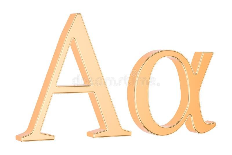 Χρυσή ελληνική άλφα, τρισδιάστατη απόδοση επιστολών διανυσματική απεικόνιση