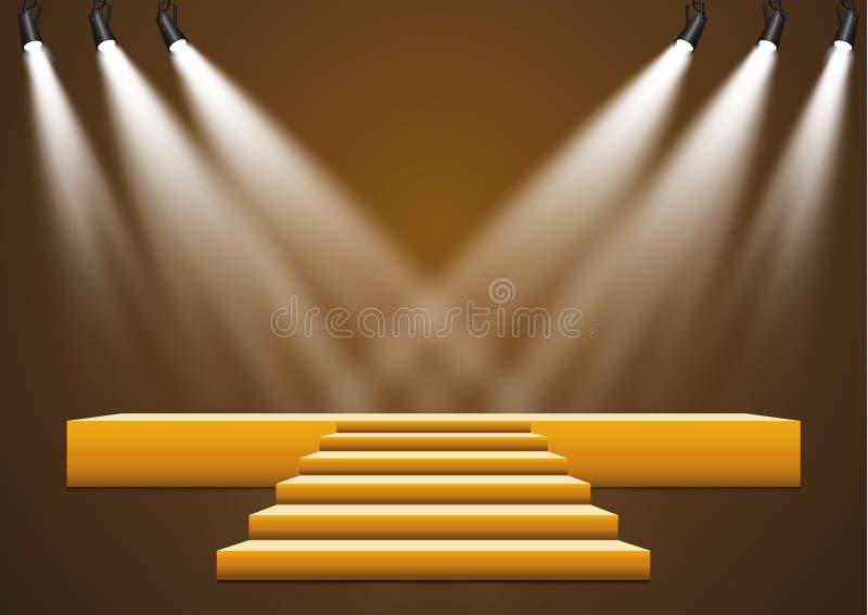 Χρυσή εξέδρα με ένα επίκεντρο σε ένα σκοτεινό υπόβαθρο, την πρώτες θέση, τη φήμη και τη δημοτικότητα επίσης corel σύρετε το διάνυ απεικόνιση αποθεμάτων