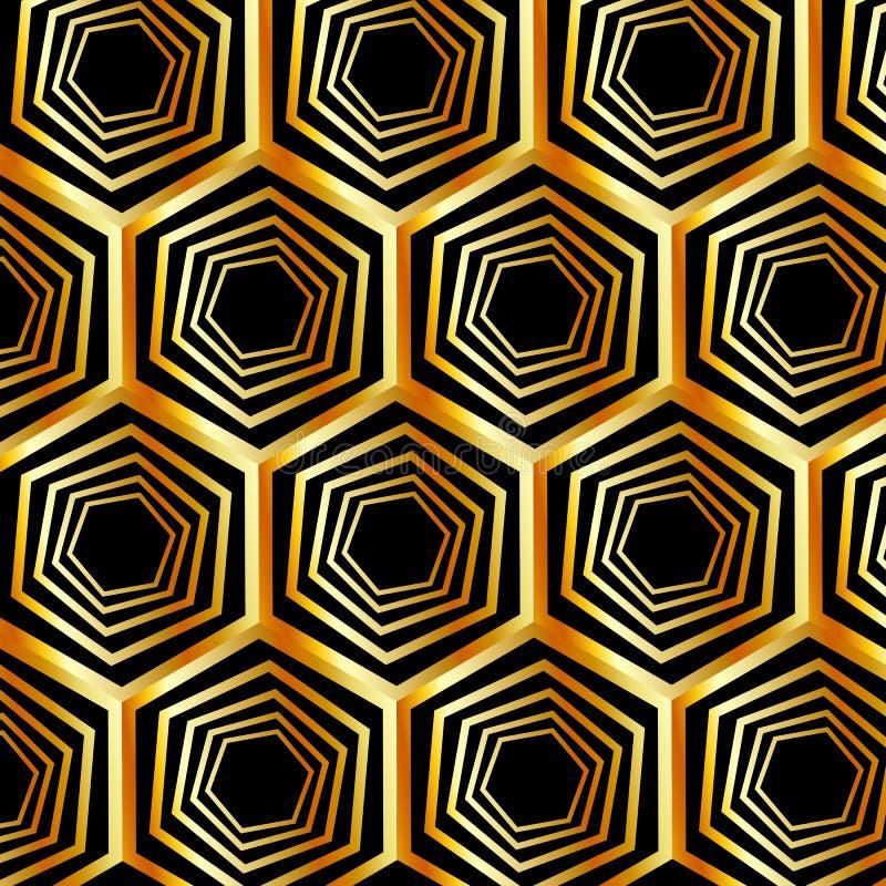 Χρυσή εξαγωνική οπτική παραίσθηση απεικόνιση αποθεμάτων