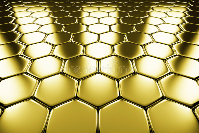 Χρυσή επιφάνεια μετάλλων της χρυσής hexagons άποψης προοπτικής διανυσματική απεικόνιση