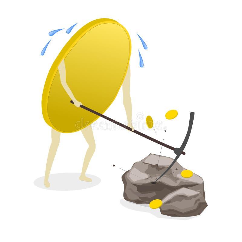 Χρυσή επιχειρησιακή διανυσματική απεικόνιση νομίσματος χρημάτων νομισμάτων ελεύθερη απεικόνιση δικαιώματος