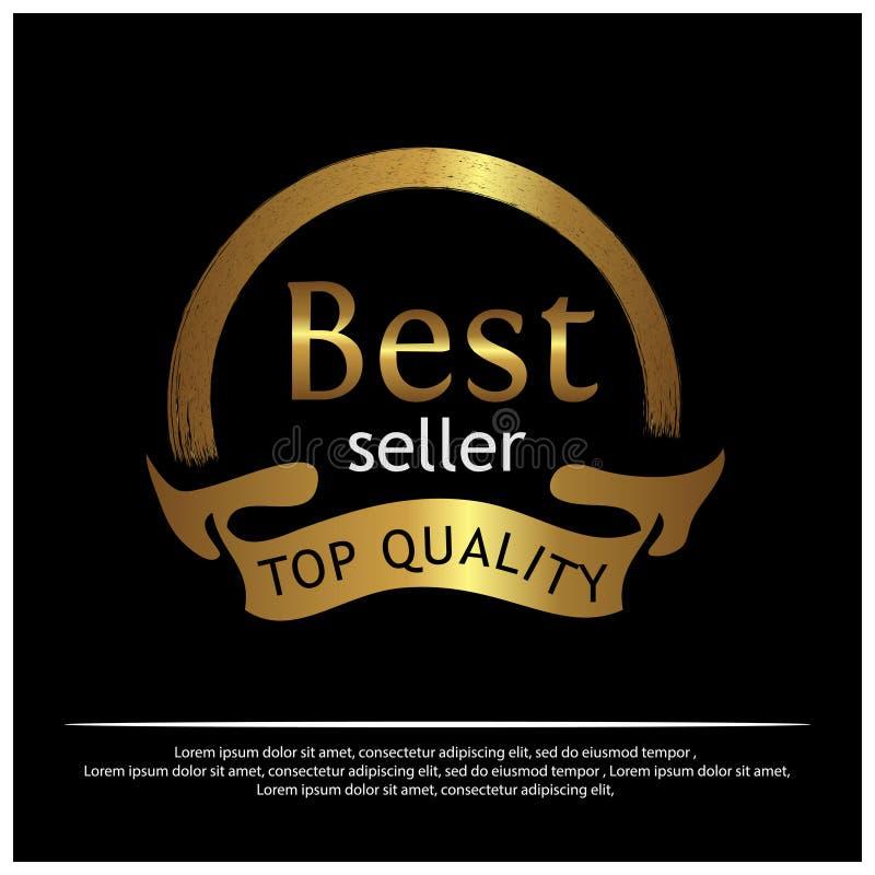 Χρυσή ετικέτα καλύτερων πωλητών στο άσπρο υπόβαθρο - διάνυσμα απεικόνιση αποθεμάτων