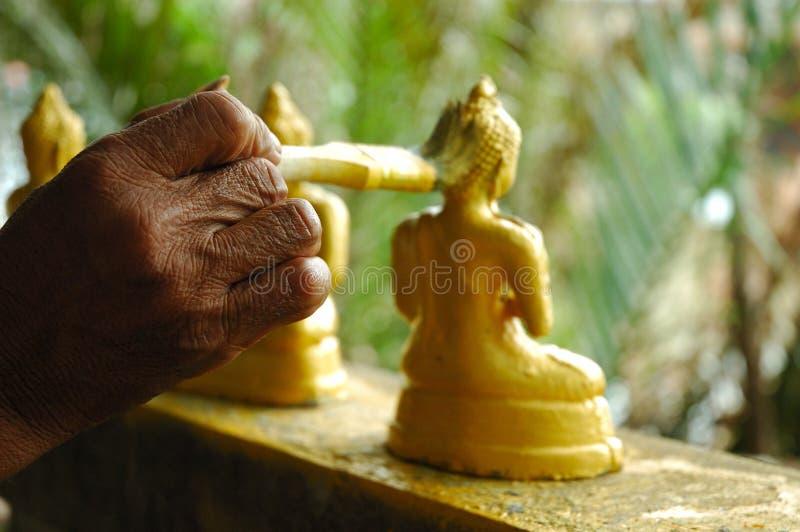 χρυσή ζωγραφική του Βούδ&al στοκ φωτογραφία