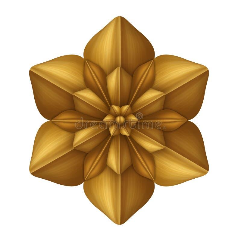 Χρυσή διακοσμητική τέχνη συνδετήρων λουλουδιών που απομονώνεται, στοιχείο σχεδίου, παλαιό ντεκόρ απεικόνιση αποθεμάτων