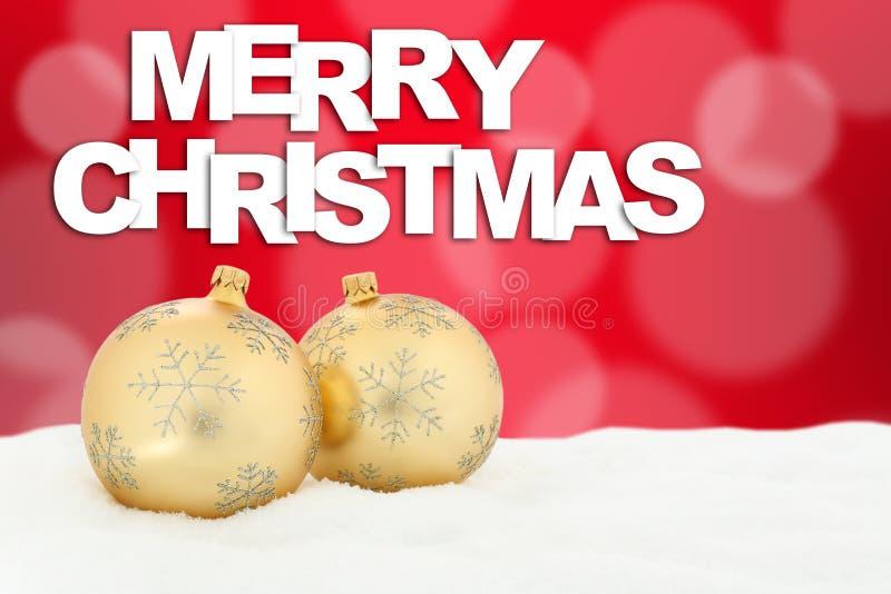 Χρυσή διακόσμηση σφαιρών καρτών Χαρούμενα Χριστούγεννας διανυσματική απεικόνιση