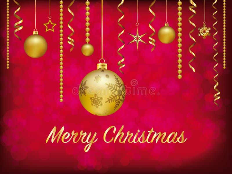 Χρυσή διακόσμηση Χριστουγέννων στο κόκκινο μουτζουρωμένο υπόβαθρο διανυσματική απεικόνιση