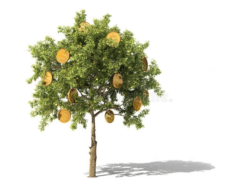 χρυσή ιδιοκτησία βασικών πλήκτρων επιχειρησιακής έννοιας που φθάνει στον ουρανό δέντρο νομισμάτων τρισδιάστατος απεικόνιση αποθεμάτων
