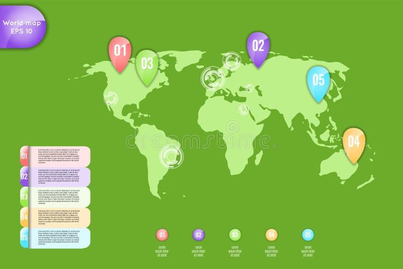 χρυσή ιδιοκτησία βασικών πλήκτρων επιχειρησιακής έννοιας που φθάνει στον ουρανό Σύνολο infographic παγκόσμιου χάρτη στοιχείων, εμ διανυσματική απεικόνιση