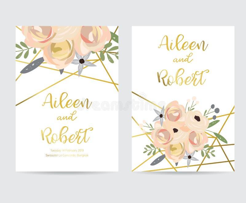 Χρυσή κάρτα γαμήλιας πρόσκλησης γεωμετρίας με το λουλούδι, το φύλλο και το πλαίσιο ελεύθερη απεικόνιση δικαιώματος