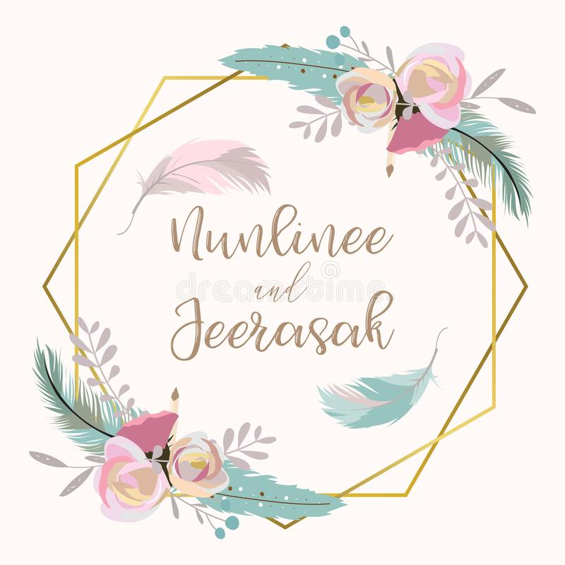 Χρυσή κάρτα γαμήλιας πρόσκλησης γεωμετρίας με το λουλούδι, φύλλο, κορδέλλα, wr ελεύθερη απεικόνιση δικαιώματος