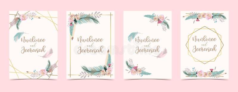 Χρυσή κάρτα γαμήλιας πρόσκλησης γεωμετρίας με το λουλούδι, φύλλο, κορδέλλα, wr διανυσματική απεικόνιση