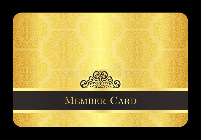 Χρυσή κάρτα μελών με το κλασικό εκλεκτής ποιότητας σχέδιο διανυσματική απεικόνιση